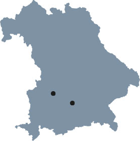 "The map of Bavaria shows Augsburg and Munich, the places of study of the Elite Graduate Program ""Software Engineering""."