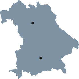 "The map of Bavaria shows Munich and Erlangen, the places of study of the International Doctorate Program ""i-Target: Immunotargeting of cancer""."