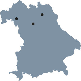 "The map of Bavaria shows Erlangen, Bayreuth and Würzburg, the places of study of the Elite Graduate Program ""Advanced Materials and Processes""."
